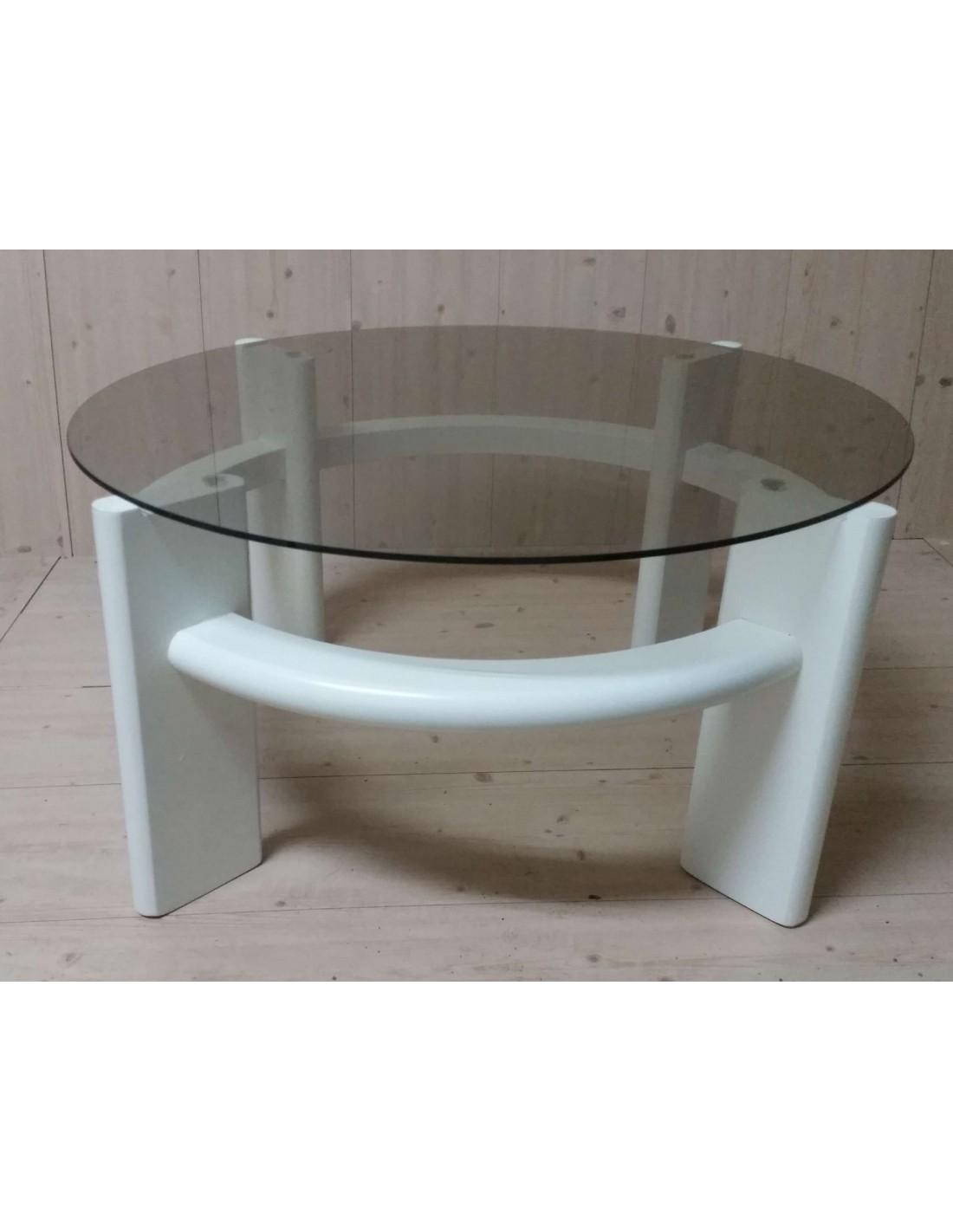 Tavolino da salotto moderno rotondo in legno colore bianco - Tavolino salotto rotondo ...