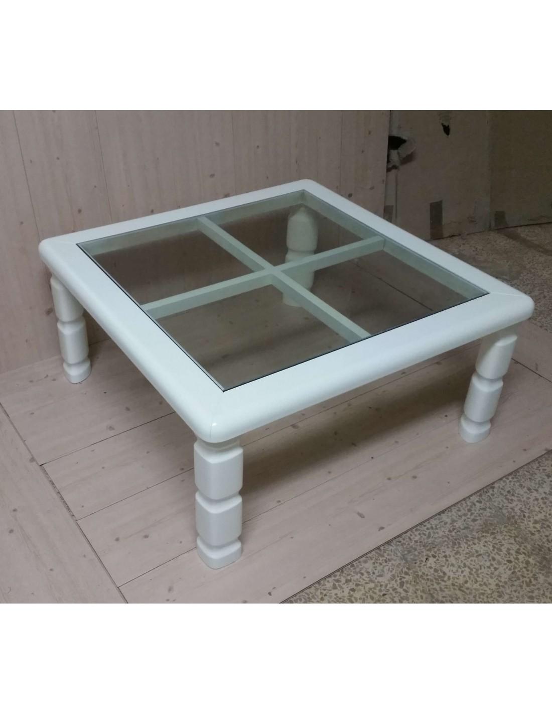 Tavolino da salotto quadrato in legno laccato bianco o for Tavolino salotto bianco laccato