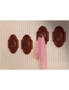 Portabiti - Attaccapanni classico a muro legno noce e metallo