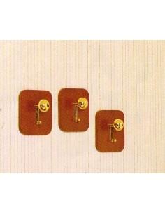 Portabiti - Attaccapanni moderno a muro in legno noce e pomolo plastica dorata