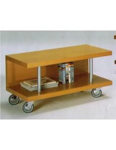 Porta tv moderno in legno colore ciliegio piani vetro e ruote