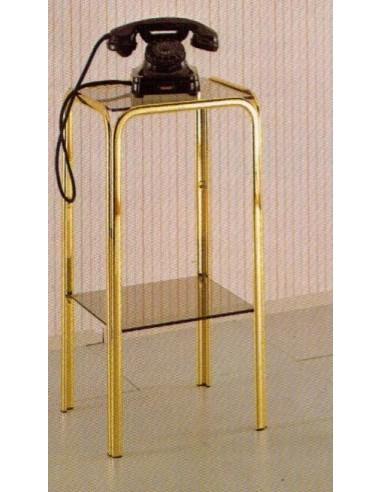 Porta telefono classico in metallo ottonato e piani vetro