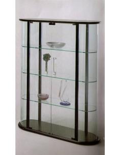 Mobile vetrina moderna espositore curva legno nero