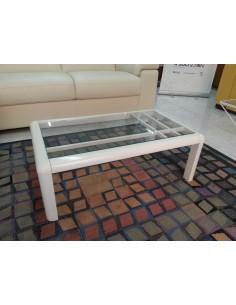 Tavolino da salotto moderno quadrato legno noce o laccato bianco e piano vetro