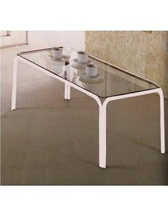 Tavolino da salotto moderno in metallo laccato bianco e piano vetro