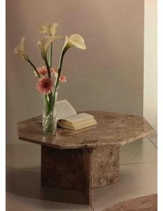 Tavolino da salotto ottagonale tutto in marmo colori nero o breccia