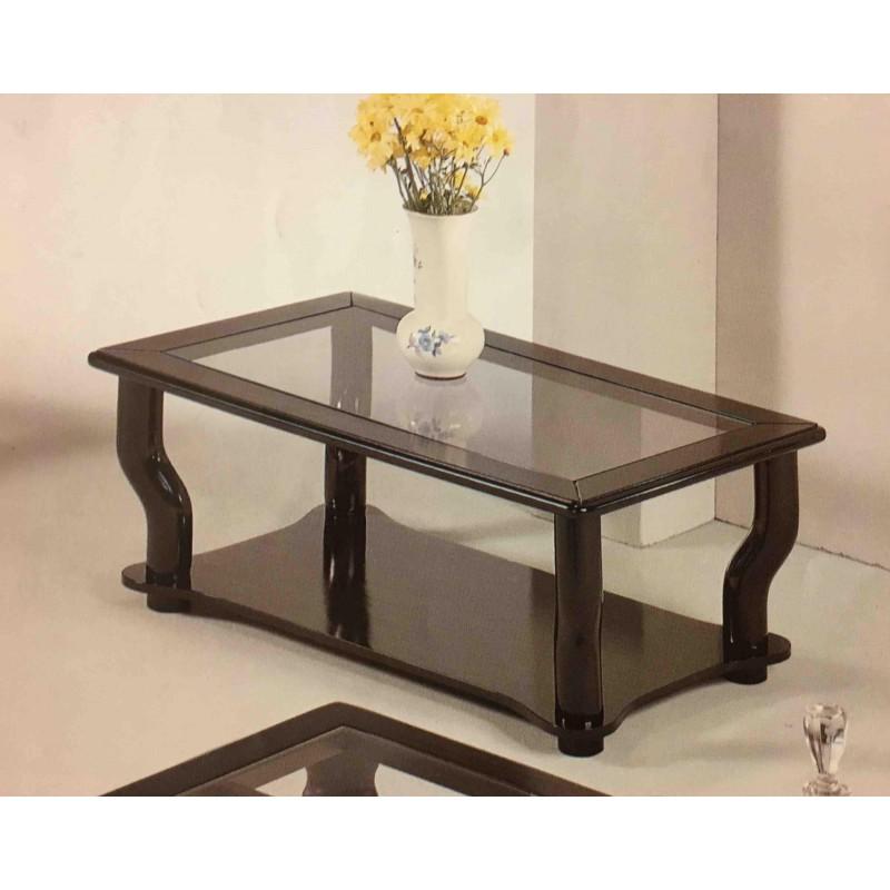 Tavolino da salotto moderno rettangolare in legno laccato bianco con piano vetro