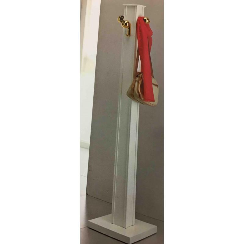 Portabiti a colonna attaccapanni moderno in legno colore bianco laccato