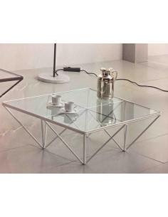Tavolino da salotto moderno quadrato in metallo bianco con piano vetro