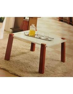 Tavolino da salotto moderno quadrato con in legno colore bianco/rosso