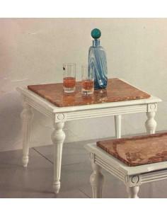 Tavolino da salotto classico quadrato in legno con piano in marmo laccato bianco
