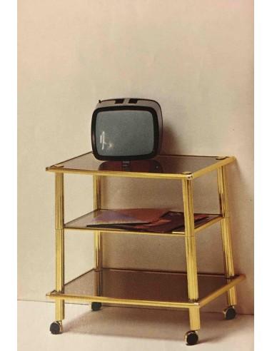 Carrello porta TV in metallo ottonato con 3 piani in vetro e ruote ...