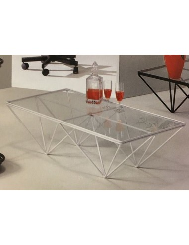 Tavolino salotto moderno in metallo rettangolare laccato for Salotto moderno bianco