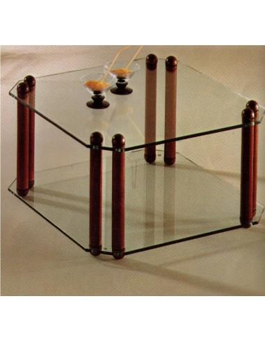 Tavolino da salotto moderno quadrato vetro e legno bianco o nero o rosso