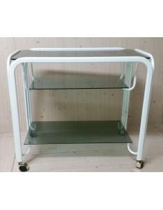 Carrello porta TV in metallo laccato bianco e piani vetro