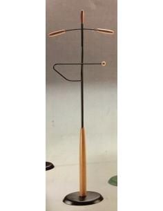 Indossatore in metallo nero con particolari in legno naturale o ciliegio