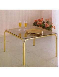Tavolino da salotto classico quadrato in metallo ottonato con piano in vetro