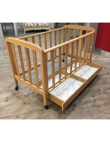Culla in legno colore naturale con rete normale e cassetto