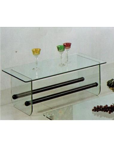 Tavolino da salotto moderno rettangolare vetro e legno for Salotto moderno bianco