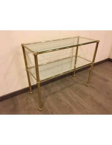 Tavolino da salotto moderno rettangolare in metallo bianco o ottonato