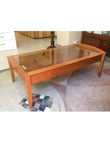 Tavolino da salotto moderno rettangolare in legno colore ciliegio e piano in vetro con cassetto