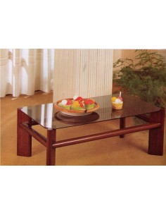 Tavolino da salotto rettangolare in legno laccato nero o bianco e vetro