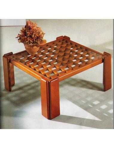 Tavolino da salotto moderno quadrato in legno laccato nero opaco e ...